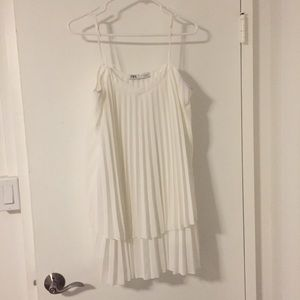 White crimp mini dress